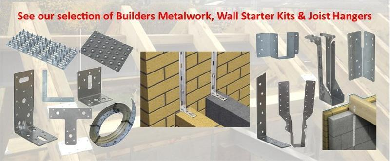 Builders Metalwork including Joist Hangers and Wall Starter Kits.