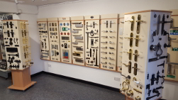 A photo of our showroom displaying the range of ironmongery we supply.
