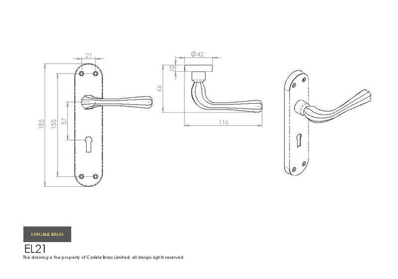 carlisle brass door handles el21cp euroline astro lever
