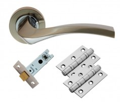 Carlisle Brass Door Handles Sines GK008SNCP/INTB Lever Latch Pack SN/CP £16.01