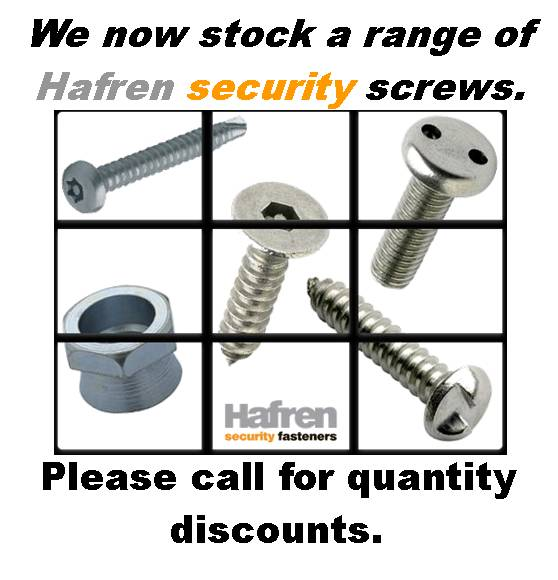"Hafren fasteners supply an extensive range of security fasteners. We can provide self drilling screws, self tapping screws, shear bolts and shear nuts, armour rings, tufnuts, sleeve anchors and shield anchors. Various security options are available including 2 hole ""pig nose"" pin hex, 6 lobe pin, clutch, sentinel, oval pan head, torxplus, solok, Nogo and Kinmar."