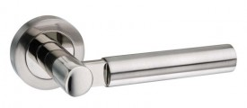 Mediterranean Palermo Door Handles on Rose M-63-SN/NP Satin Nickel / Polished Nickel £22.05