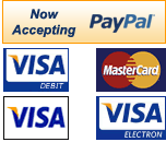 We Accept Paypal, Mastercard, Visa, Electron and Visa Debit.