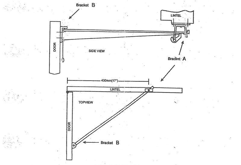 Fixing instructions for 1010 garage door stays for wide lintels