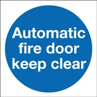 80mm Self Adhesive Automatic Fire Door Keep Clear Sign Rigid PVC £1.80