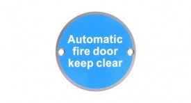 76mm Dia Automatic Fire Door Keep Clear Sign Brass BS5499 £4.90