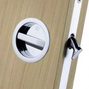 Attirant Manital Sliding Pocket Door Bathroom Lock Set ART55BCP Polished Chrome