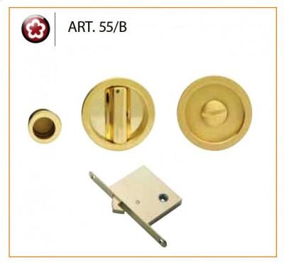 Manital Sliding Pocket Door Bathroom Lock Set Art55b Polished Br