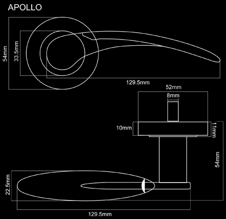 Fortessa Apollo Door Handle Dimensions