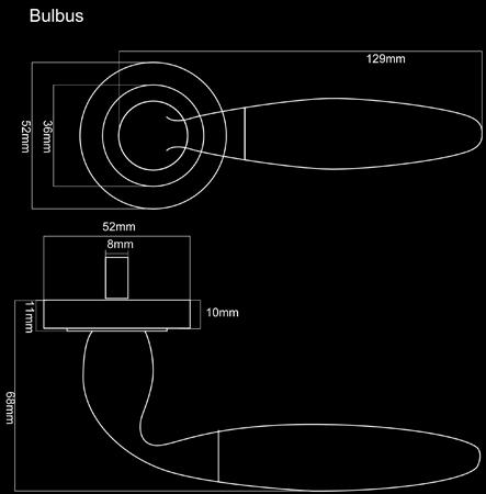 Fortessa Bulbus Door Handles Dimensions
