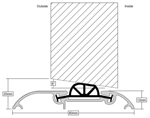 Stormguard Compression Draught Excluder Profile Dimensions