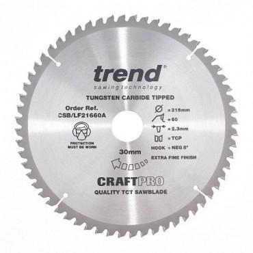 Trend Circular Saw Blade Csblf21660a Craftpro 216mm 60t 30mm