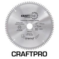 Trend Circular Saw Blade for Aluminium Plastic & Worktops CSB/AP26096 CraftPro TCT 260mm 96T 30mm £49.40