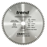 Trend Circular Saw Blade for Aluminium Plastic & Worktops CSB/AP30580 CraftPro TCT 305mm 80T 30mm £45.13