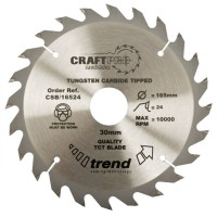 Trend Circular Saw Blade CSB/16524TC CraftPro TCT 165mm 24T 15.88mm Thin £17.83