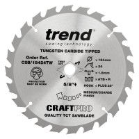 Trend Circular Saw Blade Craft Pro CSB/19024TW 190mm x 24T Wormdrive £19.15