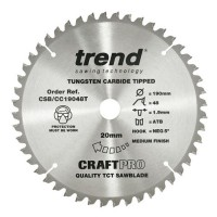 Trend Circular Saw Blade CSB/CC19048T CraftPro TCT Mitre Saw Crosscutting 190mm 48T 20mm £21.87