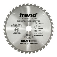 Trend Circular Saw Blade CSB/CC26040 CraftPro TCT Mitre Saw Crosscutting 260mm 40T 30mm £27.14