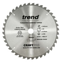 Trend Circular Saw Blade CSB/CC30540 CraftPro Mitre Saw Crosscutting 305mm 40T 30mm 2mm £33.93