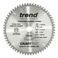 Trend Circular saw Blade CSB/CC19060T CraftPro TCT Mitre Saw Crosscutting 190mm 60T 20mm Thin £23.38