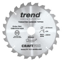 Trend Circular Saw Blade CSB/CC21624 CraftPro TCT Mitre Saw Crosscutting 216mm 24T 30mm £22.45