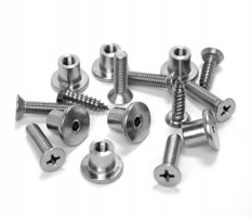 Cubicle Door Bolts Nuts & Screws Fixing Pack 20mm Board T191SM Grade 316 Satin Stainless £10.94