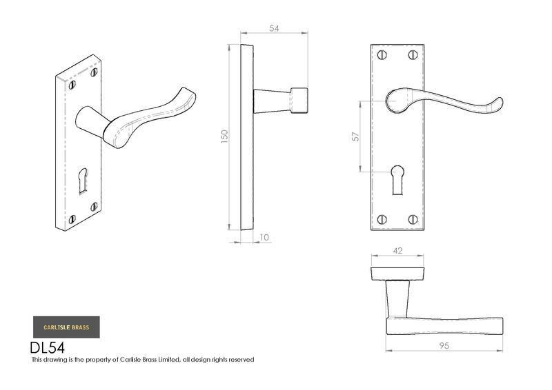 Carlisle Brass DL54 Polished Brass Door Handles Dimensions