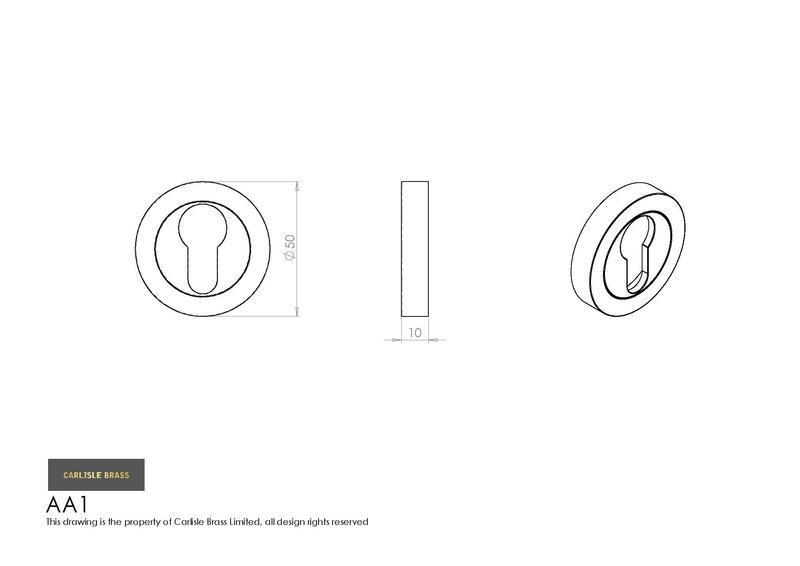 Carlisle Brass AA1 Satin Chrome Euro Profile Escutcheon Dimensions