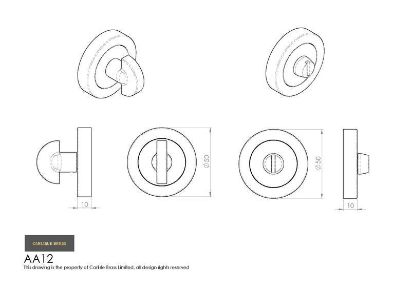 Carlisle Brass AA12 Bathroom Turn and Release in Satin Chrome Dimensions