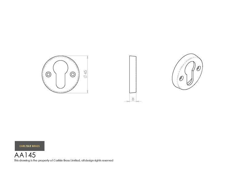 Carlisle Brass AA145CP Polished Chrome Euro Profile Escutcheon Dimensions