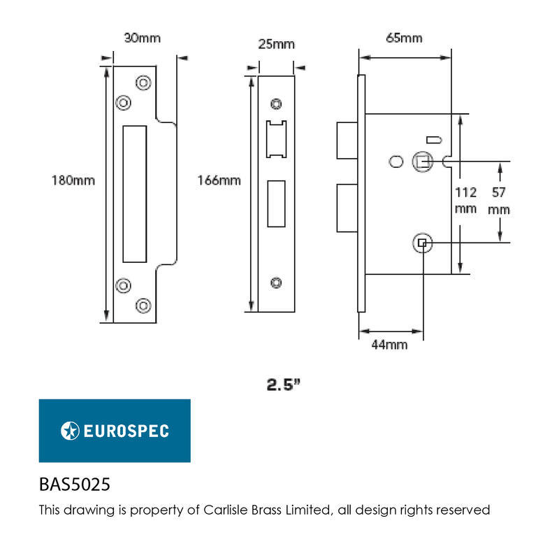 Easi-T BAS5025SSS Bathroom Lock Dimensions