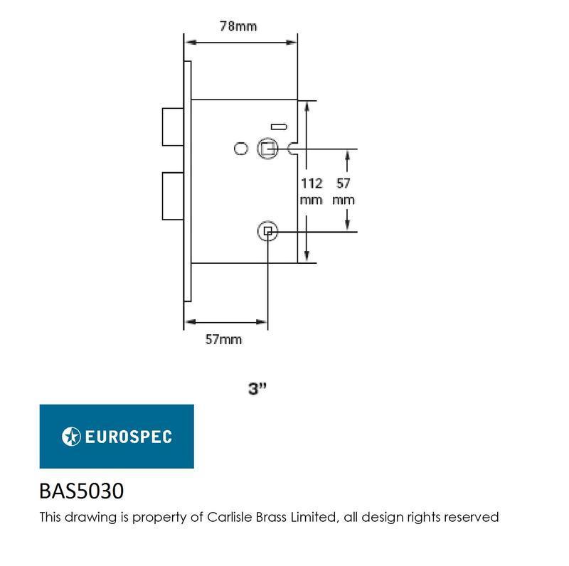 Easi-T BAS5030PVD Bathroom Lock Dimensions