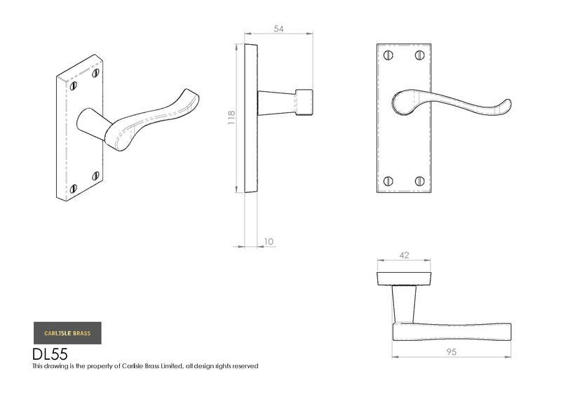 Carlisle Brass DL55CP Polished Chrome Door Handles Dimensions