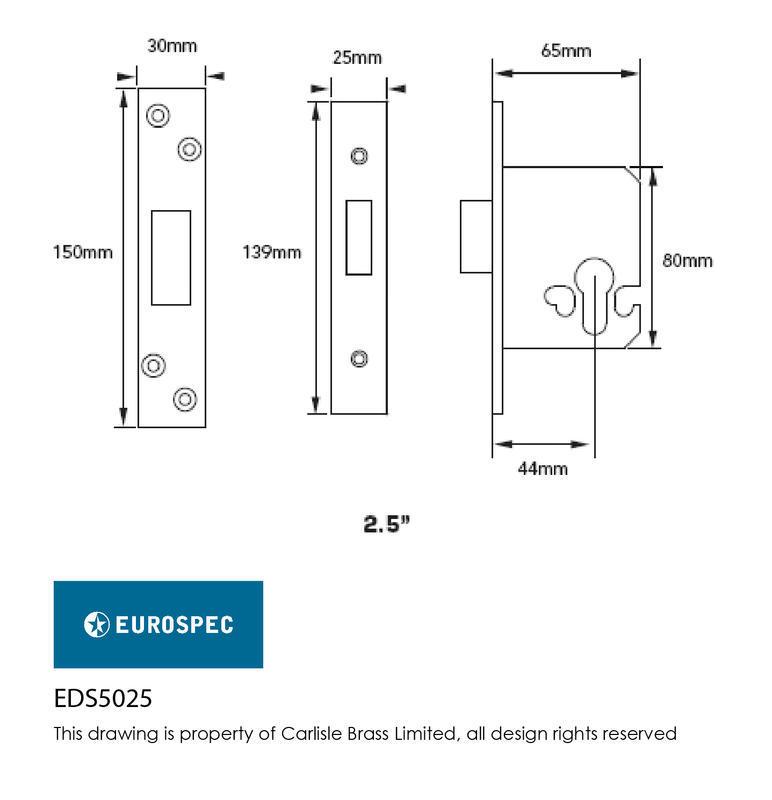 Eurospec EDS5025PVD Euro Deadlock in Brass Dimensions