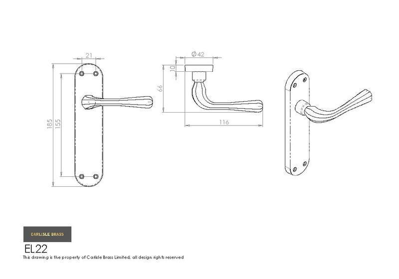 carlisle brass door handles el22cp euroline astro lever