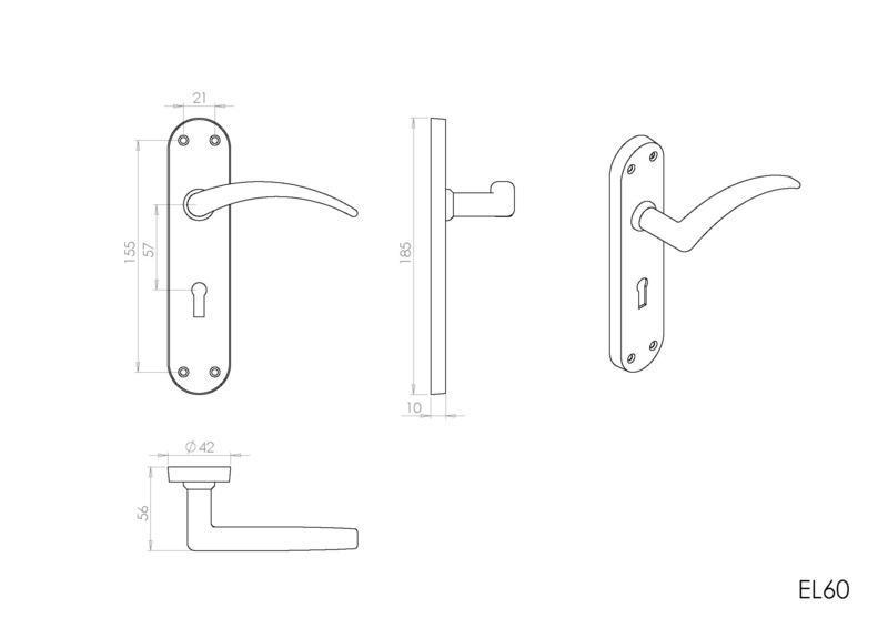 Carlisle Brass EL60 Satin Chrome Door Handles Dimensions