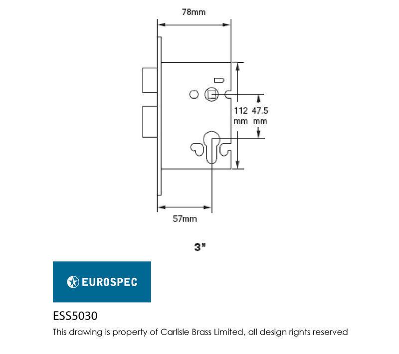 Eurospec ESS5030SSS Euro Sashlock in Satin Stainless Steel Dimensions