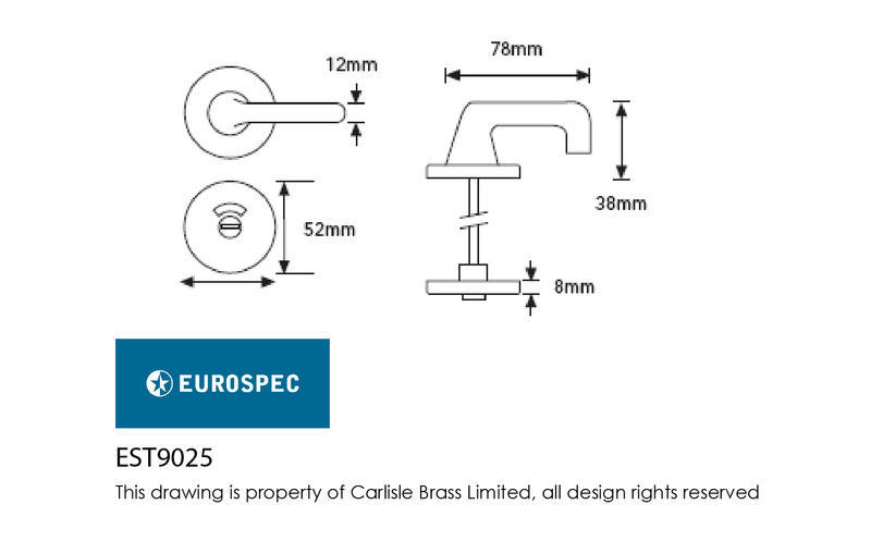 Eurospec EST9025SAAi Disabled Bathroom Turn and Release in SAA Dimensions
