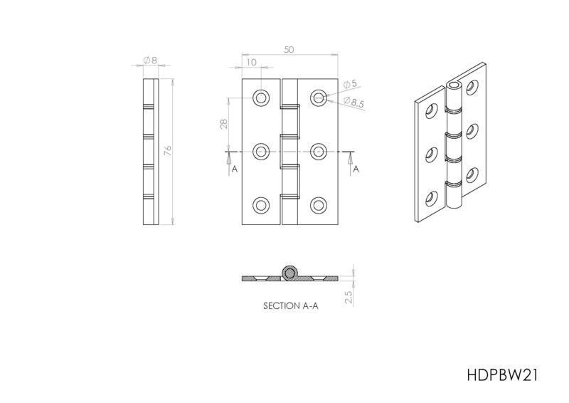 Carlisle Brass HDPBW21 Polished Brass Door Hinges Dimensions