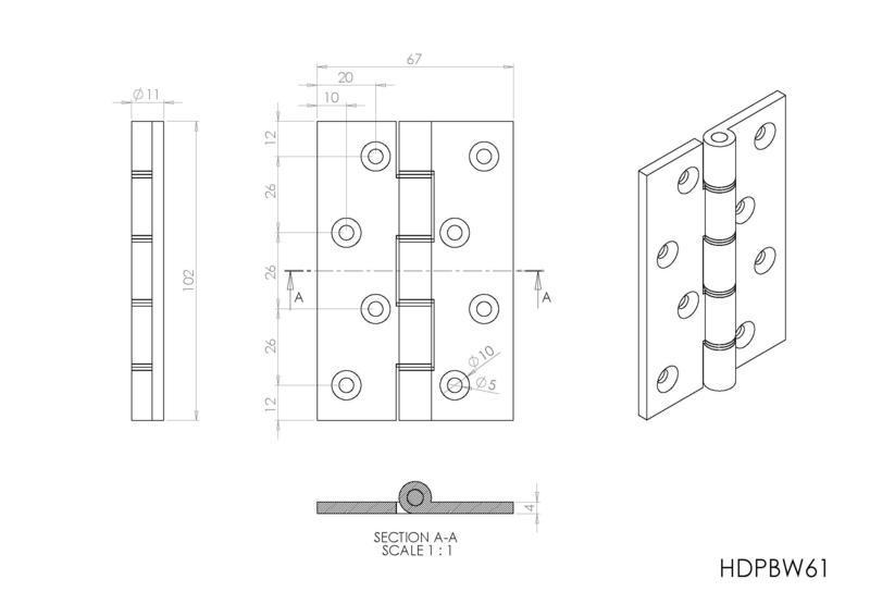 Carlisle Brass HDPBW61 Polished Brass Door Hinges Dimensions