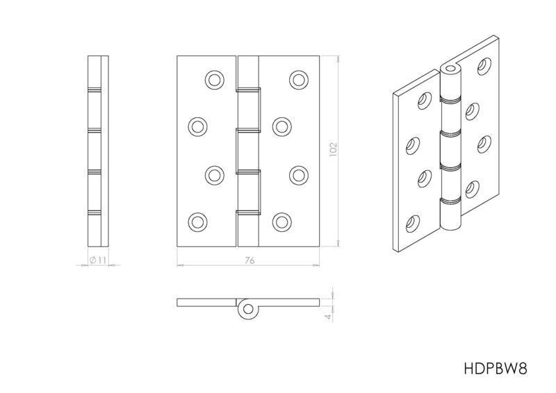 Carlisle Brass HDPBW8 Polished Brass Door Hinges Dimensions