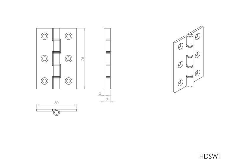 Carlisle Brass HDSW1 Polished Brass Door Hinges Dimensions