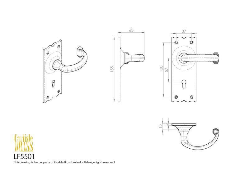 Ludlow Foundries LF5501 Black Antique Door Handles Dimensions
