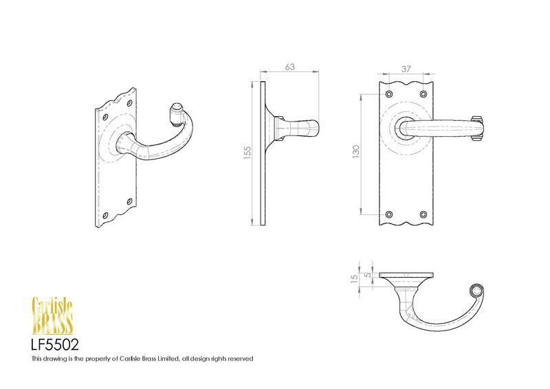 Ludlow Foundries LF5502 Black Antique Door Handles Dimensions