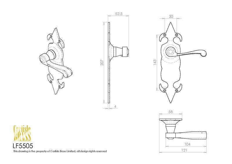 Ludlow Foundries LF5505 Black Antique Fleur de Lys Door Handles Dimensions