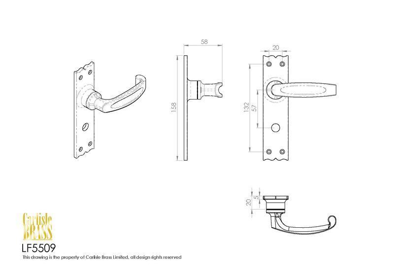 Ludlow Foundries LF5509 Black Antique Slimline V Door Handles Dimensions
