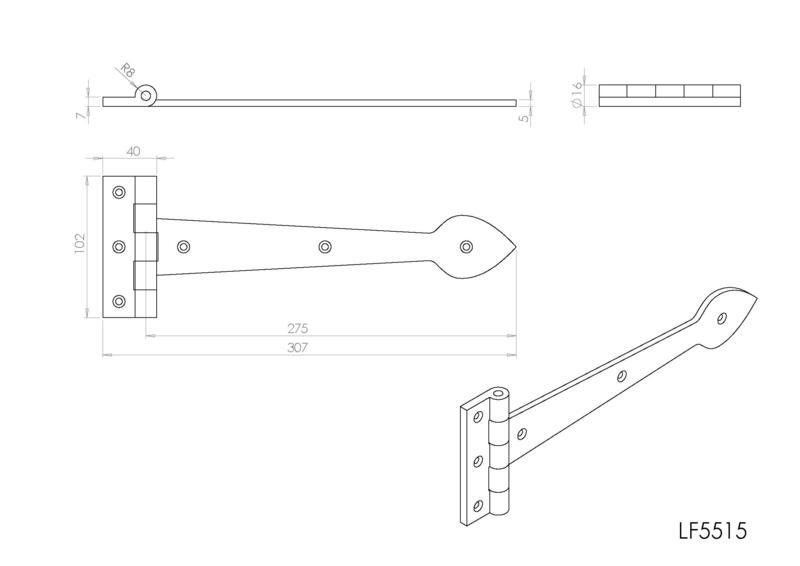 Ludlow Foundries LF5515 Black Antique Tee Hinges Dimensions