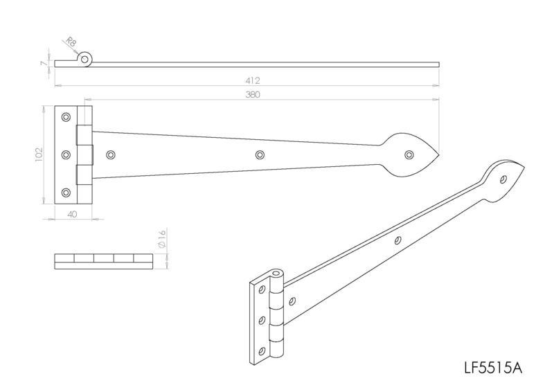Ludlow Foundries LF5515A Black Antique Tee Hinges Dimensions