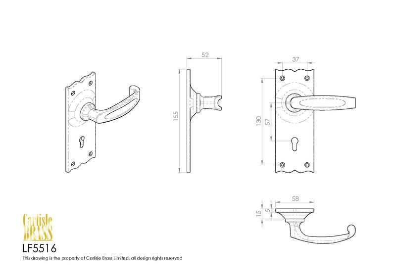 Ludlow Foundries LF5516 Black Antique Traditional V Door Handles Dimensions