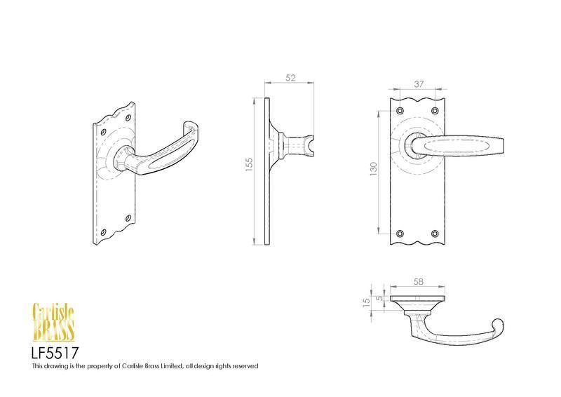 Ludlow Foundries LF5517 Black Antique Traditional V Door Handles Dimensions